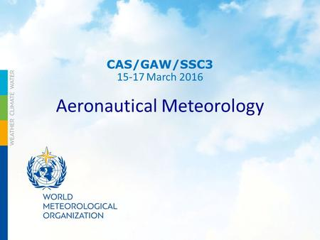 CAS/GAW/SSC3 15-17 March 2016 Aeronautical Meteorology.