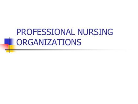 PROFESSIONAL NURSING ORGANIZATIONS