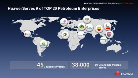Huawei Serves 9 of TOP 20 Petroleum Enterprises km Oil and Gas Pipeline Served Countries Involved.