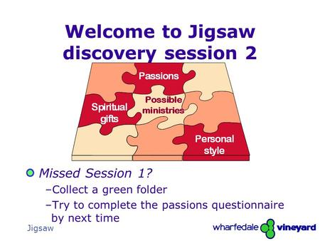 The Gathering1 Jigsaw Welcome to Jigsaw discovery session 2 Missed Session 1? –Collect a green folder –Try to complete the passions questionnaire by next.