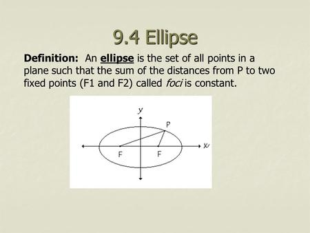 Definition: An ellipse is the set of all points in a plane such that the sum of the distances from P to two fixed points (F1 and F2) called foci is constant.