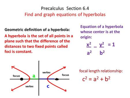 Precalculus Section 6.4 Find and graph equations of hyperbolas Geometric definition of a hyperbola: A hyperbola is the set of all points in a plane such.