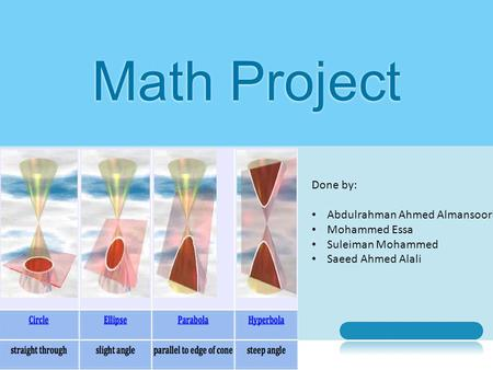 Math Project Presentation Name Done by: Abdulrahman Ahmed Almansoori Mohammed Essa Suleiman Mohammed Saeed Ahmed Alali.