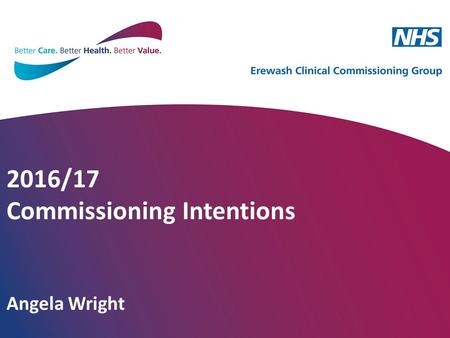2016/17 Commissioning Intentions Angela Wright. What is the purpose of Commissioning Intentions? They are a vehicle for communication of the CCG's strategic.