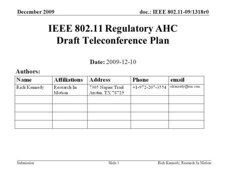 Doc.: IEEE 802.11-09/1318r0 Submission December 2009 Rich Kennedy, Research In MotionSlide 1 IEEE 802.11 Regulatory AHC Draft Teleconference Plan Date: