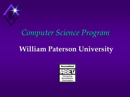 Computer Science Program William Paterson University.