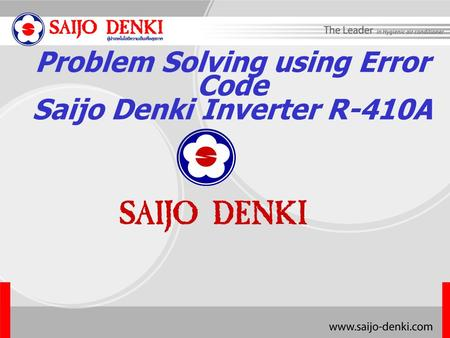 Problem Solving using Error Code Saijo Denki Inverter R-410A