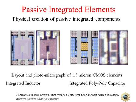 Passive Integrated Elements Robert H. Caverly, Villanova University The creation of these notes was supported by a Grant from The National Science Foundation.