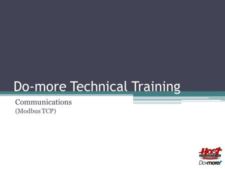 Do-more Technical Training Communications (Modbus TCP)