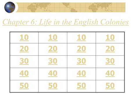 Chapter 6: Life in the English Colonies 10 20 30 40 50.