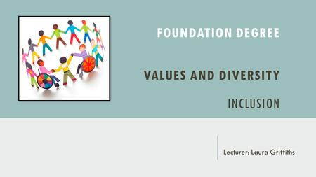 FOUNDATION DEGREE VALUES AND DIVERSITY INCLUSION Lecturer: Laura Griffiths.
