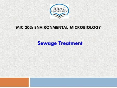 MIC 203: ENVIRONMENTAL MICROBIOLOGY Sewage Treatment.