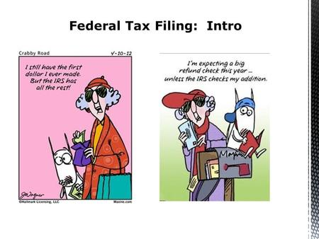 Federal Tax Filing: Intro. Answer the following questions:  What is my age?  What is my marital status?  What is my gross income? Do I need to file.