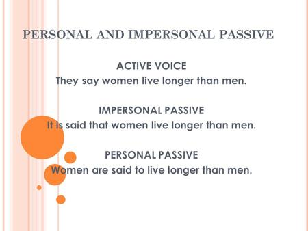 PERSONAL AND IMPERSONAL PASSIVE ACTIVE VOICE They say women live longer than men. IMPERSONAL PASSIVE It is said that women live longer than men. PERSONAL.