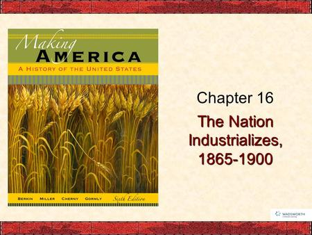 The Nation Industrializes, 1865-1900 Chapter 16. Foundations for Industrialization Resources, Skills, Capital, and New Federal Policies –Abundant natural.