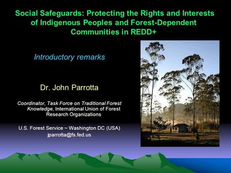 Social Safeguards: Protecting the Rights and Interests of Indigenous Peoples and Forest-Dependent Communities in REDD+ Introductory remarks Dr. John Parrotta.
