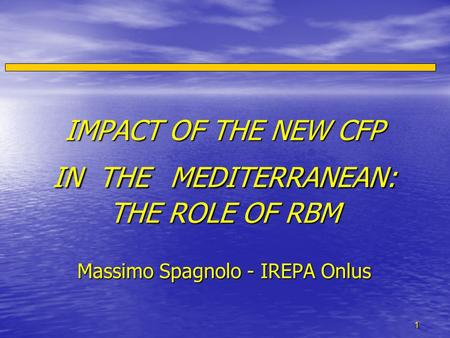 1 IMPACT OF THE NEW CFP IN THE MEDITERRANEAN: THE ROLE OF RBM Massimo Spagnolo - IREPA Onlus IMPACT OF THE NEW CFP IN THE MEDITERRANEAN: THE ROLE OF RBM.