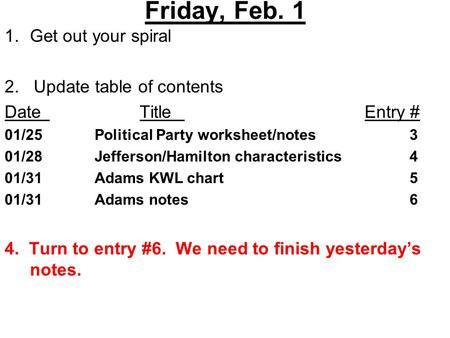 Friday, Feb. 1 1.Get out your spiral 2. Update table of contents DateTitleEntry # 01/25Political Party worksheet/notes3 01/28Jefferson/Hamilton characteristics4.