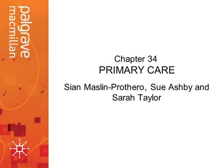 Chapter 34 PRIMARY CARE Sian Maslin-Prothero, Sue Ashby and Sarah Taylor.