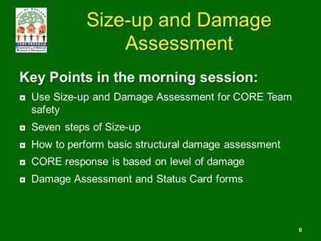 Size-up and Damage Assessment Key Points in the morning session: ◘Use Size-up and Damage Assessment for CORE Team safety ◘Seven steps of Size-up ◘How to.