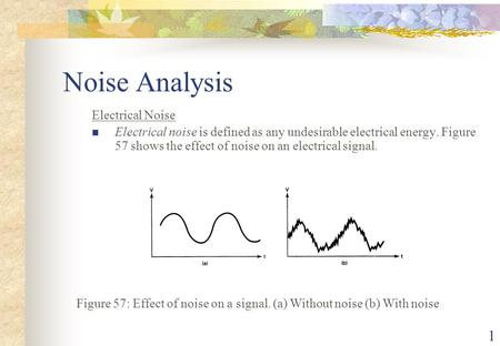 1 Noise Analysis Electrical Noise Electrical noise is defined as any undesirable electrical energy. Figure 57 shows the effect of noise on an electrical.