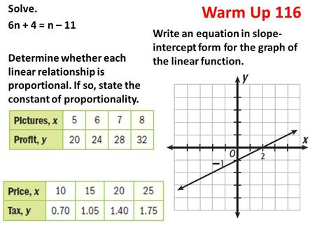 Warm Up 116 Solve. 6n + 4 = n – 11 Determine whether each linear relationship is proportional. If so, state the constant of proportionality. Write an equation.