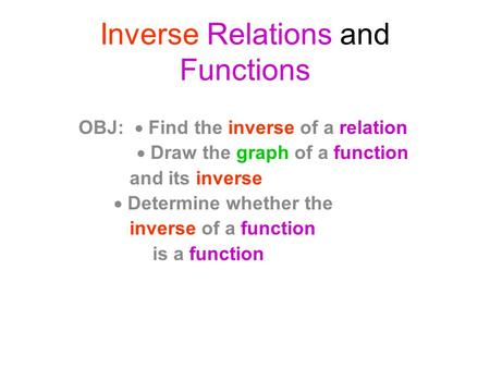 Inverse Relations and Functions OBJ:  Find the inverse of a relation  Draw the graph of a function and its inverse  Determine whether the inverse of.