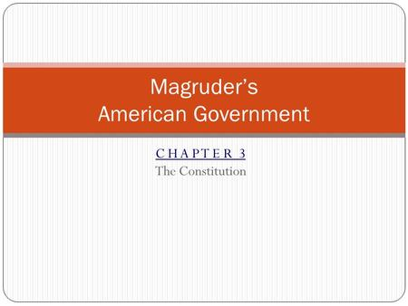 C H A P T E R 3 The Constitution Magruder's American Government.