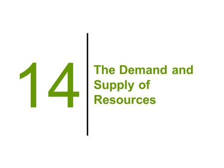 The Demand and Supply of Resources 14. Big Questions 1.What are the factors of production? 2.Where does the demand for labor come from? 3.Where does the.