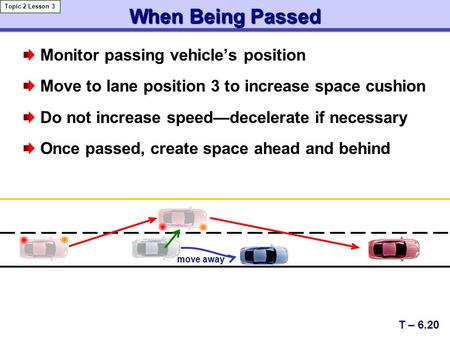 When Being Passed Monitor passing vehicle's position Move to lane position 3 to increase space cushion Do not increase speed—decelerate if necessary Once.