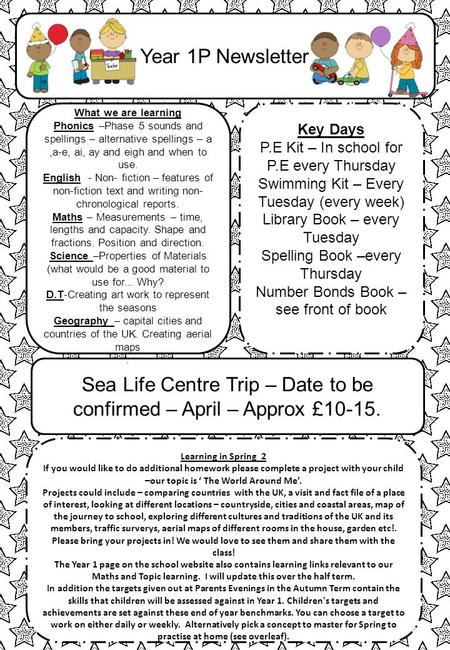Year 1P Newsletter Sea Life Centre Trip – Date to be confirmed – April – Approx £10-15. Key Days P.E Kit – In school for P.E every Thursday Swimming Kit.