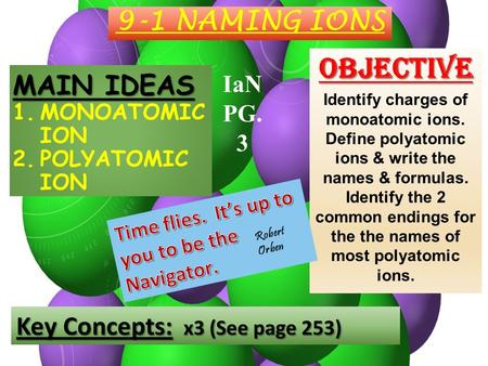 9-1 NAMING IONS MAIN IDEAS 1.MONOATOMIC ION 2.POLYATOMIC ION Objective Identify charges of monoatomic ions. Define polyatomic ions & write the names &