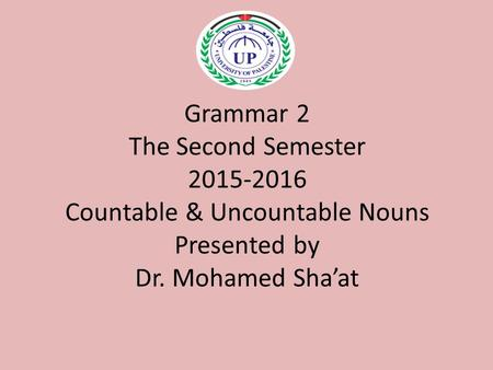 Grammar 2 The Second Semester 2015-2016 Countable & Uncountable Nouns Presented by Dr. Mohamed Sha'at.