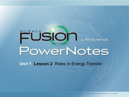 Unit 1 Lesson 2 Roles in Energy Transfer Copyright © Houghton Mifflin Harcourt Publishing Company.