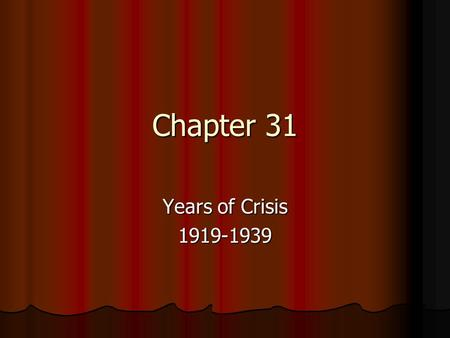 Chapter 31 Years of Crisis 1919-1939. Main Ideas In the 1920s, new scientific ideas changed the way people looked at the world. New inventions improved.