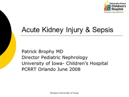 Brophy University of Iowa Acute Kidney Injury & Sepsis Patrick Brophy MD Director Pediatric Nephrology University of Iowa- Children's Hospital PCRRT Orlando.