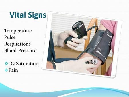 Vital Signs Temperature Pulse Respirations Blood Pressure  O2 Saturation  Pain.