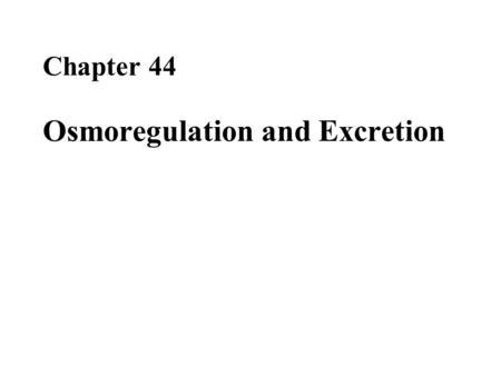 Chapter 44 Osmoregulation and Excretion. Overview: A Balancing Act Physiological systems of animals operate in a fluid environment Relative concentrations.