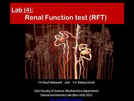 Lab (4): Renal Function test (RFT) T.A Nouf Alshareef and T.A. Bahiya Osrah KAU-Faculty of Science- Biochemistry department Clinical biochemistry lab (Bioc.