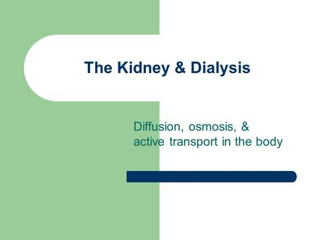 The Kidney & Dialysis Diffusion, osmosis, & active transport in the body.