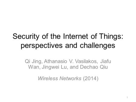 Security of the Internet of Things: perspectives and challenges