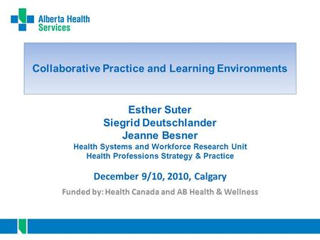 Collaborative Practice and Learning Environments Funded by: Health Canada and AB Health & Wellness December 9/10, 2010, Calgary Esther Suter Siegrid Deutschlander.