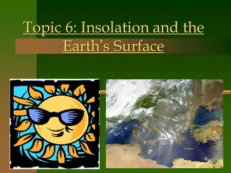Topic 6: Insolation and the Earth ' s Surface. Insolation- The portion of the Sun ' s radiation that reaches the Earth INcoming SOLar RadiATION Angle.