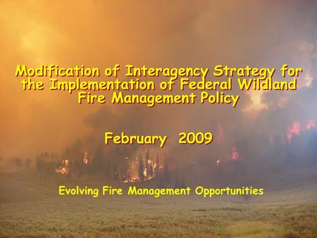 Modification of Interagency Strategy for the Implementation of Federal Wildland Fire Management Policy February 2009 Modification of Interagency Strategy.