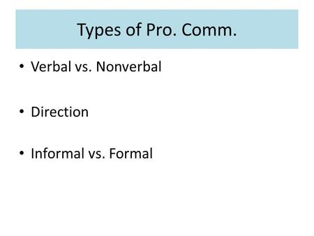 Types of Pro. Comm. Verbal vs. Nonverbal Direction Informal vs. Formal.