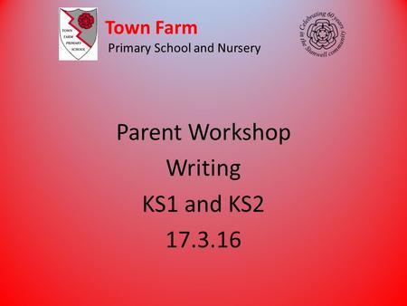 Town Farm Primary School and Nursery Parent Workshop Writing KS1 and KS2 17.3.16.