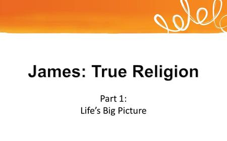 Part 1: Life's Big Picture. Which is real? James, a servant of God and of the Lord Jesus Christ,
