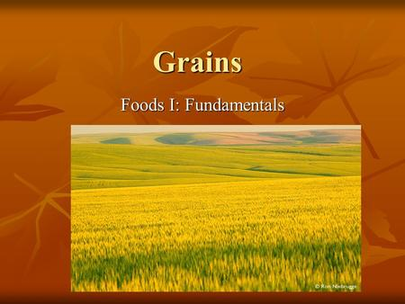 Grains Foods I: Fundamentals. Types of Grains Wheat Wheat Rye Rye Oats Oats Barley Barley Corn Corn Buckwheat Buckwheat Rice Rice Quick-cooking grains.