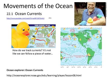 Movements of the Ocean 22.1 Ocean Currents How do we track currents? It's not like we can follow a piece of water...