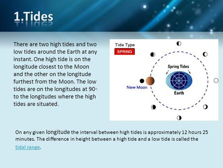 There are two high tides and two low tides around the Earth at any instant. One high tide is on the longitude closest to the Moon and the other on the.